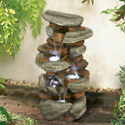 29.9 Inch Rock Fountain Garden Decoration Fountain Home Office With Led Lights
