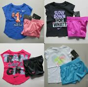 Nike Girls 2t Or 3t 8pc Summer Mesh Shorts And T-shirt Adorable New Purple