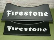 2 Firestone Signs Tire Stand Display Rack Both Sides Shown