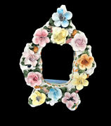 """Vintage Italy Signed Hand Made Painted Capodimonte Tabletop Vanity Mirror 15.5"""""""