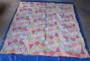Antique Old Vintage Quilt Blanket - Multicolor Plaid Red Yellow Green 78 X 64