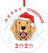 Dogs Christmas Ornaments 2021personalized Dog In Christmas Santa Hat Round Chri