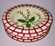 4 Los Angeles Pottery Bowls Christmas Laurie Gates Design Holly Berries Plaid