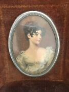 Vintage Lady Portrait Cameo Antique Oval With Satin - Frame Wall Art 1940s 5x6