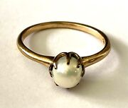 Antique 14k Solid Gold Freshwater Pearl Classy Ladies Ring Size 6.75