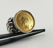 Middle East Shah Pahlavi 900 Gold Coin Ruby Ring Reza Lion Bullion King Round
