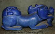 22.8 Old China Hongshan Culture Lapis Lazuli Carved Person Animal Beast Statue