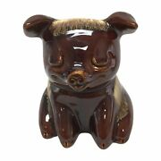 1977 Pig Piggy Bank Hull Pottery Brown Turquoise Drip 196