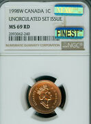 1998-w Canada Cent Ngc Ms-69 Rd Pq Mac Finest Grade Spotless 1 In A 1000 ..