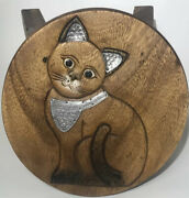 Vintage Handmade Wood Stool Cat Carving Decorated Tin Accents 10 Inches Tall