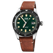 Menand039s Watch Oris Divers Sixty-five Green New And Original