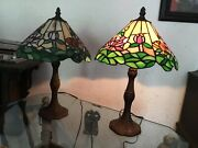 Pair Beautiful Rose Lenox Quoizel Larissa Style Table Lamp Stained Glass