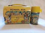 Vintage 1960s Disney School Bus Domed Metal Lunch Box And Thermos Mickey Mouse