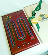 Vtg Deluxe Noble Games Cherrywood Cribbage Board With Self Storage Cards And Pegs