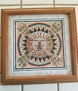 Beautiful Authentic Navajo Sandpainting Signed By Artist, Free Shipping