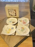 New Lenox Butterfly Meadow Coasters Set Of 4 Each Different W/ Box Nice