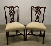 Rare Ethan Allen Georgian Court Chippendale Mahogany Side Chairs 11-6400 Setb