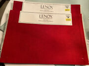 Set Of Eight Lenox Holiday Red Cloth With White Fringe Placemats New