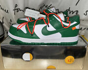 Authentic Brand New Nike X Off-white Dunk Low Lthr Pine Green Size 9 Ct0856 100