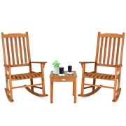 3 Pieces Eucalyptus Rocking Chair Set Coffee Table 2 Wood Conversation Chairs