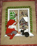 Nice Large Swedish Vintage Christmas Wall Hanging By Hill. 19x27 Tomte, Birds