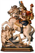 Statue Saint Martino On Horseback Cm. 27 - In Wood Carved By Hand