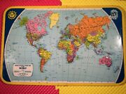 Rare J. Chein Physical Political Relief Map Of The World Raised Metal 25-1/2