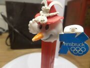 Pez Rare Vintage Olympic Snowman 1976 Long Carrot Nose Soft Rubber Hat And Band