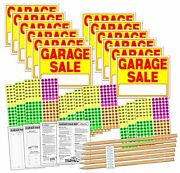 Garage Sale Sign Kit With Price Stickers And Signature Garage Neon Yellow/red