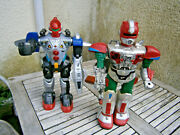 Vintage 80's Battery Operated Toy Robot Lot X 2 Robots With Ray Gun