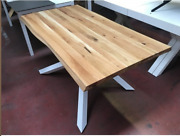 Table Solid Wood Oak With Knots Base Metal Various Sizes