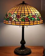 Unusual Handel / Unique Periwinkle Arts And Crafts Leaded Stained Glass Lamp