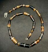 Old Ancient Antique Old Banded Agate Beads Necklace From Angkor Cambodia