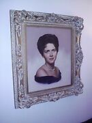 1920 Signed Lady Antique Oil Painting 1890 Gold Frame Victorian Pearls Beautiful
