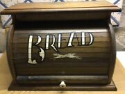 Vintage Wooden Bread Box Roll Top Painted Lettering
