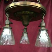 Antique Brass 3 Light Chandelier Arts And Crafts Ceiling Light Fixture And Shades