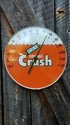 1960s Orange Crush Thermometer Sign. 12in Glass Front. Works