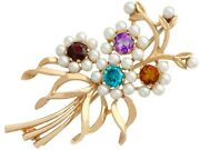 Antique 1.28 Ct Multi-gemstone And Pearls 9k Yellow Gold Brooch Circa 1920