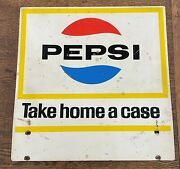 Vintage Pepsi 2-sided Metal Sign Take Home A Case 16 1/2 X 16 1/2