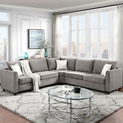 Big Sectional Sofa Couch L Shape Couch For Home Use Fabric 3 Pillows Included