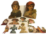 Lot Of 10 Victorian 1880's Die Cuts Women And Bust 2 Large 9 And 8 Medium 5.5