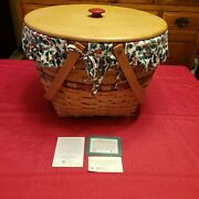 1994 Longaberger Holiday Hostess Sleigh Bell Basket 14427 W/holly Berry And Liner