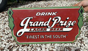 Vintage Grand Prize Beer Porcelain Sign Gulf Texas Oil Gas Bewery Bar Alcohol