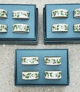 12 Vintage Lenox Dimensions Porcelain Christmas Holly Berry Napkin Rings-3 Boxes