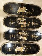 4 Vintage Asian Chinese Mother Of Pearl Black Lacquer Wall Plaques Panels