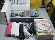 Nintendo Wii Huge Lot - Console, Sensor Bar, Controllers And 7 Games - Wii Play