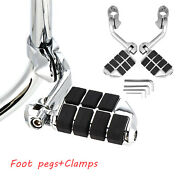 For Harley Davidson 2x Footrest Motorcycles Highway Foot Pegs 1-1/4 Bars Clamps