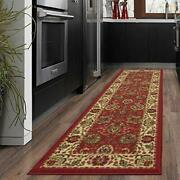 Ottomanson Oth2130-3x10 Ottohome Floral Runner Rug 2and0397 X 9and03910 Red Persian 9...