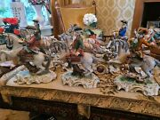 Large Dresden Porcelain Hunting Carriage With Separate Riders Rare