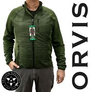Orvis Mens Mixed Media Jacket Dark Sage Lightweight And Easy To Layer Large Nwt